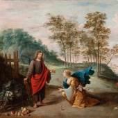 """David Teniers der Jüngere """"Noli me tangere (Jesus als Gärtner mit Maria Magdalena) """", um 1640, Öl auf Kupfer, 36,8 x 50 cm, signiert unten rechts D. TENIERS. F  Foto: Werner Zögling"""