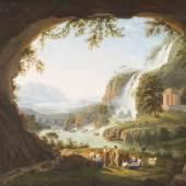 LUDWIG PHILIPP STRACK (1761 – 1836), IDEALLAND-SCHAFT BEI TIVOLI MIT WASSERFALL, HÖHLE, TEMPIETTO UND STAFFAGE, Öl auf Leinwand (doubl.). 57,5 cm x 72,5 cm. Erlös: 33.700,-€