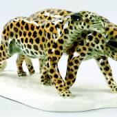 Kat.-Nr. 90 Leoparden-Gruppe Porzellan, Schwarzburger Werkstätten, um 1930 Schätzpreis 400,- EUR