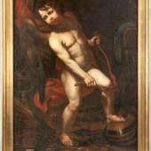 Kat.-Nr. 1190 Amor, seinen Bogen zerbrechend um 1800 In der Manier Caravaggios der geflügelte Knabe.. Schätzpreis 650,- EUR