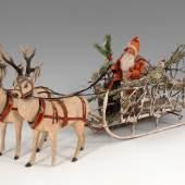 Seltener Weihnachtsmann auf Schlitten mit 2 Rentieren