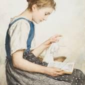 ANKER, ALBERT 1831 Ins 1910   Strickendes Mädchen beim Lesen. Schätzpreis: CHF 75'000.-