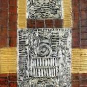 Lucas Suppin (Untertauern 1911 – 1998 Salzburg)  Reliefbild mit goldenen und silbernen Feldern auf rotbrauner Wand  Spachtelmasse, Blattgold und Öl auf Platte  signiert und datiert 1973, 95 x 70 cm