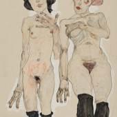 Egon Schiele, Zwei nackte Mädchen mit schwarzen Strümpfen, 1910 © Privatbesitz Wien, Foto: Privatbesitz Wien
