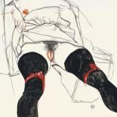 Egon Schiele, Frau in schwarzen Strümpfen, 1913 © Privatsammlung,