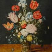 Jan Brueghel d. Ä., Brüssel 1568 – 1625 Antwerpen, Blumenstrauß in einem Glasbecher, nach 1608, Holz, Leihgabe der Heinrich und Anny Nolte-Stiftung, Essen, Dep. 960