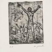 A.R. Penck, Fliegen wie ein Vogel, 1970 Radierung; 245 x 200 mm (Platte); 386 x 313 mm (Blatt)  © VG Bild-Kunst, Bonn 2017, Foto: Andreas Diesend