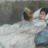 Berthe Morisot, Žena s vějířem. Portrét paní Marie Hubbard, 1874  Berthe Morisot, Woman with a Fan. Portrait of Madame Marie Hubbard, 1874  © Ordupgaard, Copenhagen / Photo Anders Sune Berg