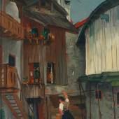 """""""Häuserwinkel in Reutte"""" von Rudolf Wacker; Leihgabe des vorarlberg museum, Bregenz Foto: vorarlberg museum, Bregenz © Robert Fessler, Lauterach 2012"""