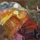 Carl Lohse, Kleine Stadt, 1920 Mischtechnik auf Leinwand, 98 x 98 cm, Albertinum  © VG Bild-Kunst, Bonn 2017