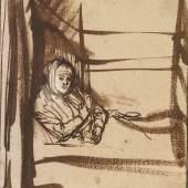 Rembrandt van Rijn, Saskia im Bett, um 1638 Kupferstich-Kabinett  © SKD, Foto: Herbert Boswank