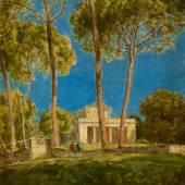 Hans Thoma, Villa Borghese, 1880. Öl auf Holz, 20,8 x 16 cm. Staatliche Museen zu Berlin, Nationalgalerie. Foto: Andres Kilger