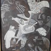 """Peter Krusche (1953)""""Am Tisch III"""",Mischtechnik und Öl auf Papier, auf Holz aufgezogen, signiert,ca.124,5x104cm"""