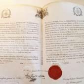 Los 305 HOHENLOHE (Branche française). Diplôme de Grand Officier de l'Ordre du Phénix de Hohenlohe attribué au Comte de Vaulx, 1.500 €