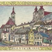 Franz von Zülow, Stadtansicht von Steyr, Entwurf für ein Deckelinnenbild, 1928 © JTI Collection Vienna