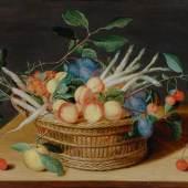 ISAAC SOREAU (circa 1604 Hanau 1645). Stillleben mit Früchte und Gemüse in einem Flechtkorb. Öl auf Holz. 40,5 x 51,4 cm. CHF 150 000 / 250 000.