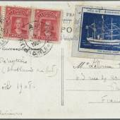 Los 3034 French Antarctic Expedition 1908-1910: 1908, blue Expedition label inscribed POLE SUD - EXPEDITION CHARCOT / POURQUOI PAS? Ausruf: 15.000,- Euro