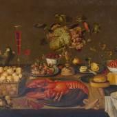 """A162/3045 ARTUS CLAESSENS (1625 Antwerpen nach 1643) Bankett-Stillleben mit Hummer, Früchten, Weingläsern, Porzellan- und Zinngeschirr, Vögeln, Affe, Eichhörnchen und Katze. Öl auf Leinwand. Auf der Glaskaraffe monogrammiert. Mit Wappen der Familie Straten und Schriftzug """"In tyts van Straten"""". 99,4x170 cm.  CHF 140 000 / 180 000"""