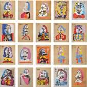 266 Pablo Picasso (Malaga 1881 – Mougins 1973) Vingt-neuf portraits imaginaires, 1969 Komplette Mappe mit 29 Farblithografien, 65,1 x 50,2 cm Jeweils handschriftlich nummeriert (F 209/250) Aus der französischen Edition, Editions Cercle d'Art (Auflage 250) Vingt-neuf portraits imaginaires, 1969 Cartella completa di 29 litografie a colori, 65,1 x 50,2 cm Ciascuna numerata a mano (F 209/250) Dall'edizione francese, Ed