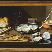 """Floris van Schooten Haarlem? c.1585/88-1656 Haarlem Stilleven met haringen en oesters, c.1625-1630 Paneel, 35 x 49 cm Haarlem, Frans Hals Museum, verworven met steun van """"Schenking drs. J-P. de Man"""" en de Vereniging Rembrandt, 2011"""