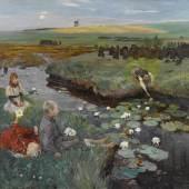 312883 Ludwig Dettmann, Bei den Wasserrosen im Moor. l auf Lwd., sig. u. dat. 1897 u.l., 144x190, SP 30000