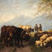 """Losnummer: 1351 Artikelnummer: 3138-59 Mali, Christian Friedrich, 1832 - 1906 Bet. """"Weidevieh am Chiemsee"""". Im Vordergrund eine Schafherde neben einem Pflug mit Ochsengespann. Dahinter die Schafhirtin im Gespräch mit einem Bauern neben zwei weiteren Kühen. Links der Chiemsee vor den Höhenzügen der Alpen. Öl/Lwd., unten links sign. und bez. """"München 1876"""", verso diverse originale Klebezettel. Bildmaß 41,5x90,5cm. Provenienz: Sammlung Gräfin Tattenbach.  Ausrufpreis: € 6000,-"""