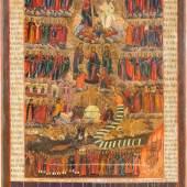BEDEUTENDE UND MONUMENTALE IKONE MIT DEM JÜNGSTEN GERICHT, Russland, Anfang 19. Jh., aus vier Laubholz-Brettern zusammengefügtes Bildfeld mit zwei Rückseiten-Sponki. Eitempera auf Kreidegrund, versilberter Hintergrund, 104,5 x 79 cm, Erlös 56.250€