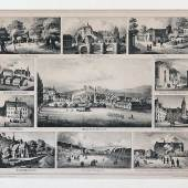 Lithografie 19. Jh.. Ansichten von Hadamar. Um das Zentralbild zehn Ansichten von historischen Bauten der Stadt. Zuschlagspreis:500 EUR