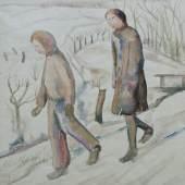 Greta Oberbeck, Winterliche Szene mit zwei Kindern/Aquarell/35 x 23 cm/2001