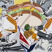 David Salle, A Night in the Sky with Friends, 2019, oil and acrylic on linen, 180 x 264 cm (71 x 104 in) © David Salle / ADAGP, Paris, 2020. Photos: John Berens