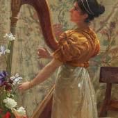 Franz Xaver Simm (1853 – 1918)  Harfenspielerin | Öl auf Holz | 40,5 x 30,5cm Taxe: 20.000 – 25.000 €