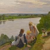 Friedrich Kallmorgen (1856 – 1924)  Kindergruppe am Hochufer der Elbe bei Lauenburg | 1910 | Öl auf Leinwand | 98,5 x 115cm Taxe: 30.000 – 40.000 €