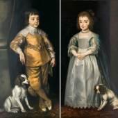 Englischer Portraitmaler 'Paar Gegenstücke: Charles II. und seine Schwester Mary als Kinder' (Lot. 33)