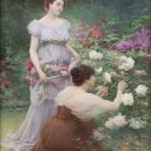 ALBERT LYNCH (1851 – 1912), ZWEI JUNGE FRAUEN IM ROSENGARTEN, Öl auf Leinwand. 98,5 x 72 cm. Erlös: 43.500,-€