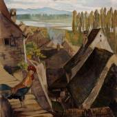 Mez, Alfred, 1885 - 1955 Blick über die Dächer von Breisach mit Blick auf die Rheinebene und die Vogesen, Ausrufpreis: € 250,-