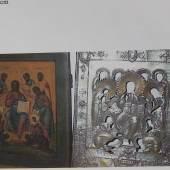 """Ikone""""Erweiterte Desis vom Solowetzkijkloster"""", vergoldetes Silberoklad,Goldgrund auf Holz,wohl St.Petersburg um 1770-1790,Originalexpertise des Ikonenmuseums Schloss Autenried liegt vor"""