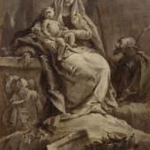 Giovanni Domenico Tiepolo (zugeschrieben). Die Rast auf der Flucht nach Ägypten. Um 1745/50. Öl auf Papier, auf Leinwand aufgezogen. CHF 20 000 – 30 000.
