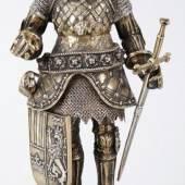 Historismus-Ritterfigur 800er Silber teilvergoldet/Elfenbein, Neresheimer & Söhne (Hanau), um 1900 (Kat.-Nr. 346)  Schätzpreis 1.500,- EUR