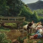 Ferdinand Georg Waldmüller, Versöhnung an der Brücke, um 1860 © Leopold Privatsammlung