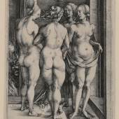 Albrecht Dürer, Vier nackte Frauen (Die vier Hexen), 1497, Kupferstich, Inv.nr. 1941/6, Bartsch 75 – Graphisches Kabinett, Wallraf-Richartz-Museum