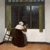 JACOBUS VREL Frau, ein Kind durchs Fenster ansehend  Holz, 45,7 x 39,2 cm  © Paris, Fondation Custodia, Collection Frits Lugt