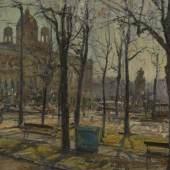 Lot Nr: 362 - Blick auf das Kunsthistorische Museum, 1980(?) Hans Wulz, (1909 – 1985) Schätzpreis: 2400 – 3000,- Euro Rufpreis: 50,- Euro Öl auf Leinwand