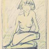363 Otto Mueller Sitzender weiblicher Akt, Um 1925. Farbige Kreidezeichnung Schätzpreis: € 30.000 - 40.000