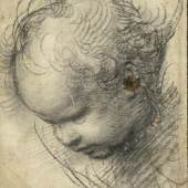 RAFFAEL, EIGENTLICH RAFFAELLO SANTI ODER SANZIO (1483–1520) Kopf eines Cherubs, um 1509