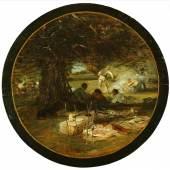 """""""Rast nach der Jagd"""" Heinrich von Zügel (1850 Murrhardt - 1941München), Öl auf Holz, unten mittig signiert, Durchmesser 50 cm, Frühwerk des Künstlers Fink Nikolaus, Stand Nr. 36"""