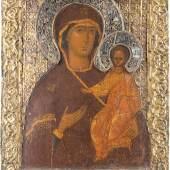 Gottesmutter von Smolensk, Moskau, 16. Jahrhundert, 28 x 22 cm (Limitpreis 4.000 Euro)