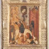 Christi Einzug nach Jerusalem mit fein graviertem Silberbasma, Moskau, 16. Jahrhundert, 31,3 x 24,5 cm (Limitpreis 4.000 Euro)