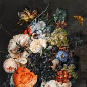 Joseph Nigg: Blumenstillleben mit Früchten und Falter