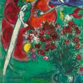 Marc Chagall 1887 - 1985 FLEURS DE ST. JEAN-CAP-FERRAT (PAYSAGE MÉDITERRANÉEN) Signed Marc Chagall and dated 1956-7 (lower left) Oil on canvas 51 1/8 by 38 1/4 in. 130 by 97 cm Painted in 1956-57.  Estimate: 2,500,000 - 3,500,000 USD