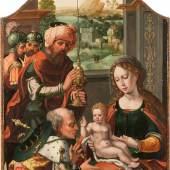 ANTWERPENER SCHULE, um 1520/50, DIE ANBETUNG DER HEILIGEN DREI KÖNIGE, Öl auf Eichenholz, oben abgerundet, 89,5 cm x 57 cm, Limit 20.000,- €
